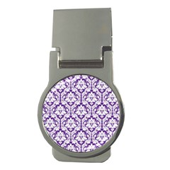 White On Purple Damask Money Clip (round)