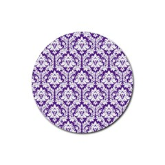 White On Purple Damask Drink Coasters 4 Pack (round)