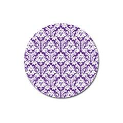 White on Purple Damask Magnet 3  (Round)