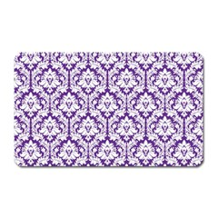 White On Purple Damask Magnet (rectangular)