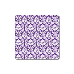 White on Purple Damask Magnet (Square)