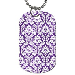 White On Purple Damask Dog Tag (one Sided)