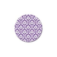 White on Purple Damask Golf Ball Marker 10 Pack