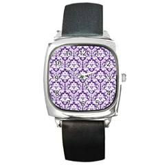 White on Purple Damask Square Leather Watch