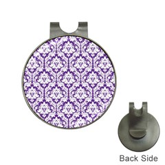 White on Purple Damask Hat Clip with Golf Ball Marker