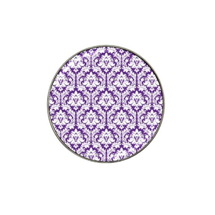 White on Purple Damask Golf Ball Marker (for Hat Clip)