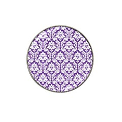 White on Purple Damask Golf Ball Marker 10 Pack (for Hat Clip)