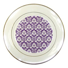 White on Purple Damask Porcelain Display Plate