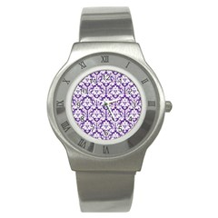 White on Purple Damask Stainless Steel Watch (Slim)
