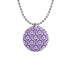 Royal Purple Damask Pattern 1  Button Necklace