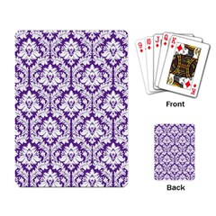 White on Purple Damask Playing Cards Single Design