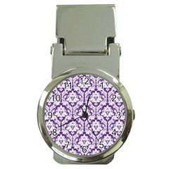 White On Purple Damask Money Clip With Watch