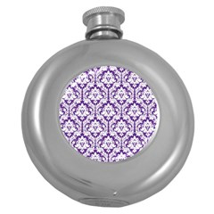 White on Purple Damask Hip Flask (Round)