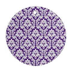 White on Purple Damask Round Ornament (Two Sides)