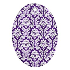 White on Purple Damask Oval Ornament (Two Sides)