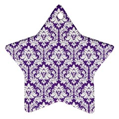 White on Purple Damask Star Ornament (Two Sides)