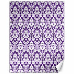 White on Purple Damask Canvas 18  x 24  (Unframed)