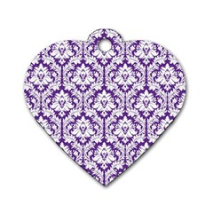 White on Purple Damask Dog Tag Heart (One Sided)