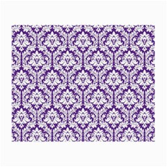 White on Purple Damask Glasses Cloth (Small, Two Sided)