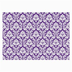 White on Purple Damask Glasses Cloth (Large, Two Sided)