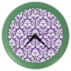 White On Purple Damask Wall Clock (color)