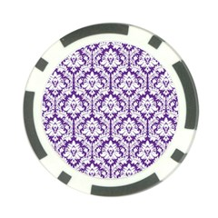 White On Purple Damask Poker Chip