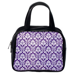 White on Purple Damask Classic Handbag (One Side)