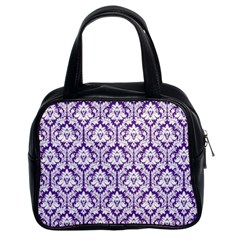 White on Purple Damask Classic Handbag (Two Sides)