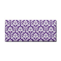 White on Purple Damask Hand Towel