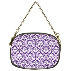 White on Purple Damask Chain Purse (One Side)