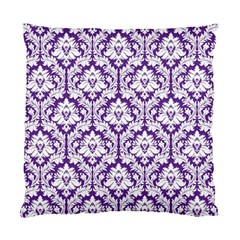Royal Purple Damask Pattern Standard Cushion Case (Two Sides)