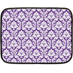 Royal Purple Damask Pattern Double Sided Fleece Blanket (Mini)