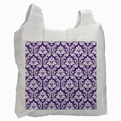 White on Purple Damask White Reusable Bag (Two Sides)