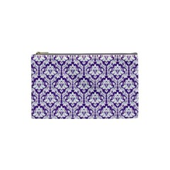White On Purple Damask Cosmetic Bag (small)