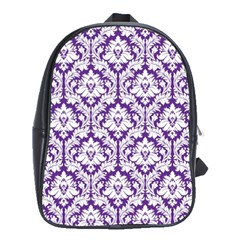 White On Purple Damask School Bag (large)