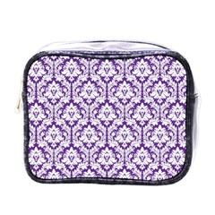 White on Purple Damask Mini Travel Toiletry Bag (One Side)