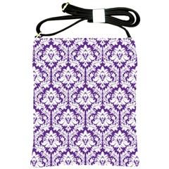 Royal Purple Damask Pattern Shoulder Sling Bag