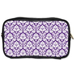White On Purple Damask Travel Toiletry Bag (one Side)