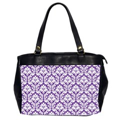 Royal Purple Damask Pattern Oversize Office Handbag (2 Sides)