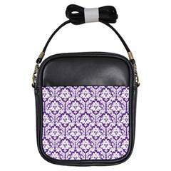 Royal Purple Damask Pattern Girls Sling Bag