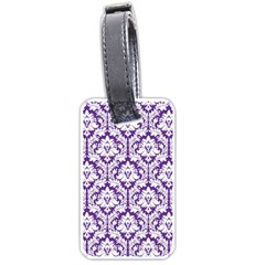 White on Purple Damask Luggage Tag (Two Sides)