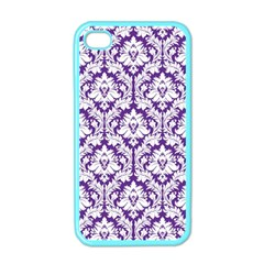 White on Purple Damask Apple iPhone 4 Case (Color)