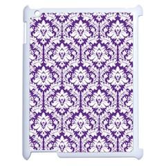White on Purple Damask Apple iPad 2 Case (White)