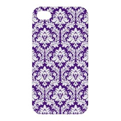 White on Purple Damask Apple iPhone 4/4S Hardshell Case