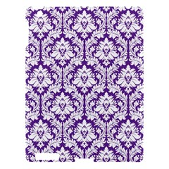 White on Purple Damask Apple iPad 3/4 Hardshell Case