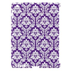 White On Purple Damask Apple Ipad 3/4 Hardshell Case (compatible With Smart Cover)