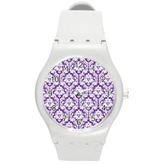 White on Purple Damask Plastic Sport Watch (Medium)
