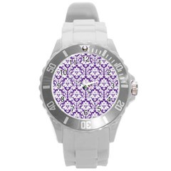 White On Purple Damask Plastic Sport Watch (large)