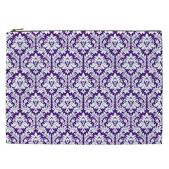 Royal Purple Damask Pattern Cosmetic Bag (xxl)