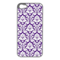 White On Purple Damask Apple Iphone 5 Case (silver)